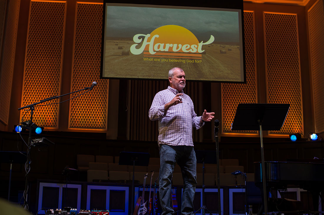 Pastor David giving a sermon via live stream